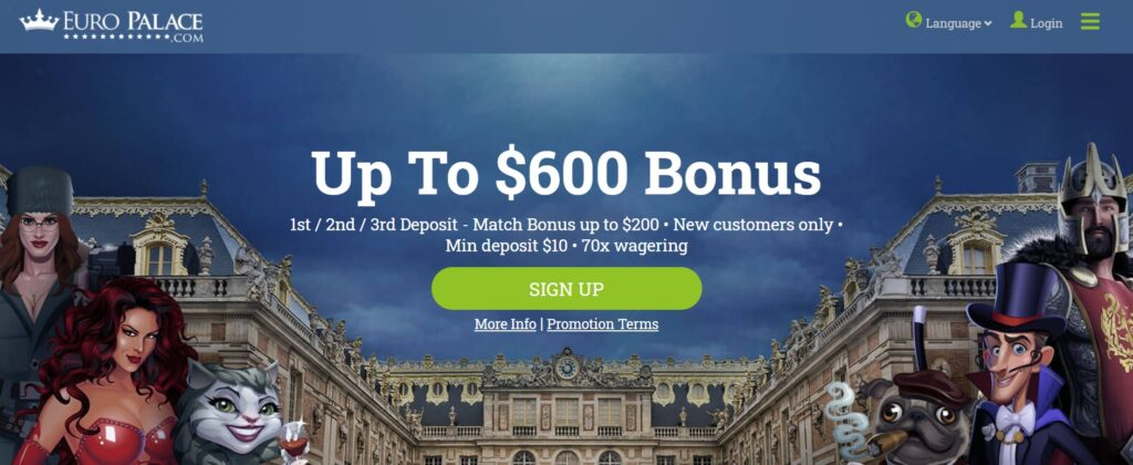 What bonuses can you get at EURO PALACE CASINO?